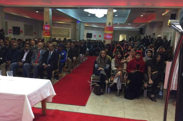 A scene from the Labour rally in Birmingham with divided genders